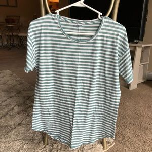 Madewell Tops - Madewell Classic Striped Green/White Short Sleeve